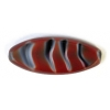 Fire polished 20x8mm Oval Opaque wine Stripe Strung - Natural